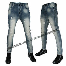 Jeans Uomo Denim Slim Fit Strappato Blu Vintage Bellois Fashion