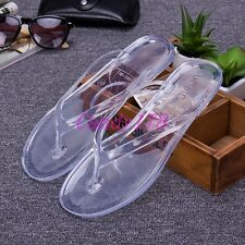 New Womens Flip Flops Transparent Slingback Flats Mules Slippers Shoes Plus Size
