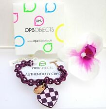 BRACCIALE RESINA OPS! OBJECTS LOVE CUORE SILICONE DAMIER SCACCHI VIOLA ROSA