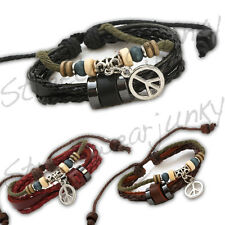 ★Surfer Armband Leder Maori Style Peace Logo Leather Bracelet Beach Party A314★