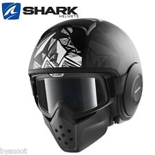 Casco SHARK RAW Dante Opaco nero decorazione occhiali getto moto scooter DJ