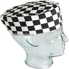 Denny's Chef Check Skull Cap  Elasicated Back Black,Royal,Red or Grey M or L