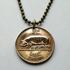 Ireland 1/2 Penny coin pendant Irish necklace PIG BOAR Éire Gaelic harp n000286