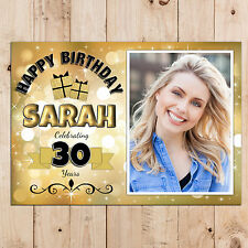 Personalised 18th 21st 30th 40th 50th Happy Birthday PHOTO Banner N66 ANY AGE