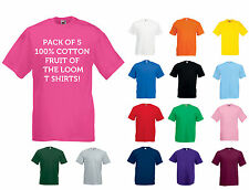 PACK OF 5 X MENS FRUIT OF THE LOOM PLAIN 100% COTTON T SHIRTS GREAT QUALITY