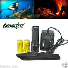 Zoomable 5000lm XML T6 LED Flashlight Torch+2*26650 Battery+Charger+Holster