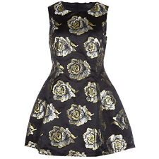 Womens Ax Paris Metallic Floral Skater Dress In Black From Get The Label
