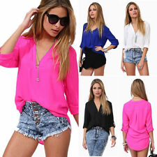 Womens  Chiffon V Neck Blouse T Shirt Casual 3/4 Sleeve Tee Plain Summer Fit Top