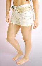 Ladies Womens Beige Stretch Belted Shorts with Roll up Cuffs Half Pant NEW