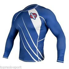 HAYABUSA RECAST RASHGUARD LONG SLEEVE - BLUE / WHITE -  MMA Sparring Training