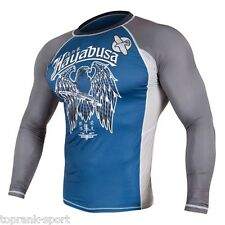 HAYABUSA SHOWDOWN RASHGUARD LONG SLEEVE - BLUE / GREY-  MMA Sparring Training