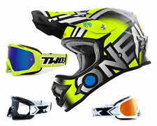 Oneal 3series CASCO CROSS Radio Neon Gris con two-x Carrera Gafas Motocross