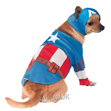 Pet Dog Cat Captain America Costume Rubies Fancy Dress Avengers Outfit S-XL