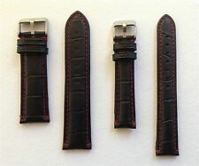LEATHER WATCH STRAP BLACK/RED STITCHING 18MM TO 24MM - PANERAI/TW STEEL/U BOAT