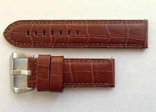 PANERAI REPLACEMENT CALF WATCH STRAP - CHESTNUT BRN ALLIGATOR GRAIN 22MM & 24MM