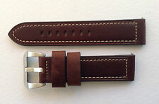 PANERAI REPLACEMENT WATCH STRAP DK BROWN/WHITE STITCH 20MM-24MM  U BOAT/TW STEEL