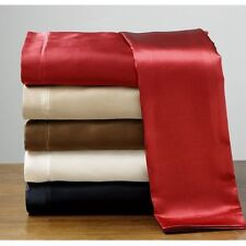NEW POLYESTER SATIN SILK~Y BED SHEET+PILLOWCASES TWIN-FULL-QUEEN-KING-CAL KING