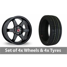 """4 x 18"""" Wolfrace Asia-Tec JDM Black Alloy Wheel Rims and Tyres -  245/45/18"""