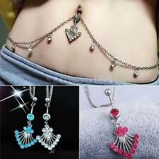 Crystal Tassel Chain Dangle Jewelry Navel Belly Bar Button Ring Waist Chain