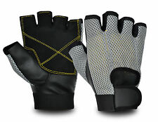 Leather Gym Weight Lifting Glove Mesh Back Bodybuilding Padded Cycling Bicycle