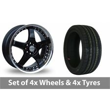 """4 x 17"""" Lenso RS5 Black Alloy Wheel Rims and Tyres -  205/40/17"""