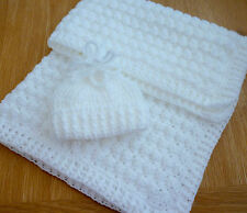 **SIMPLY BEAUTIFUL** crochet baby blanket & hat. THICK & TEXTURED -  Warm & cosy
