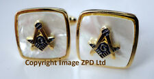 ZP361 Masonic Cufflinks Freemason Square Compass Vintage Style G Pearlescent