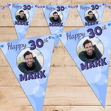 Personalised 30th 40th 50th 60th Birthday Party PHOTO Flag Banner Bunting - N63