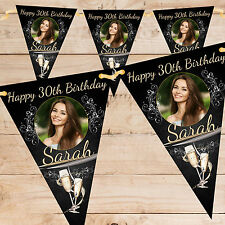 Personalised 30th 40th 50th 60th Birthday Party PHOTO Flag Banner Bunting - N64