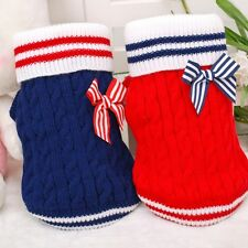 Pet Dog Warm Clothes Coat Marine Bows Jumper Sweater Puppy Cat Knitwear Costume