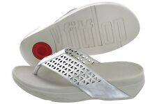 Fitflop Leather Lattice Surfa A45-011 Silver Slip Flip Flop Sandals Medium Women
