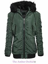 Brave Soul Womens Ladies Fur Hooded Bomber Parka Coat Zip Up Jacket