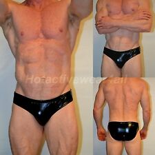 MENS SEXY SMOOTH SOLID  METALLIC BLACK BIKINI SWIM BRIEF HOTACTIVEWEAR4ALL