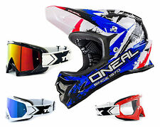 Oneal Backflip Shocker Casco Downhill MTB rojo azul con TWO-X Race Gafas
