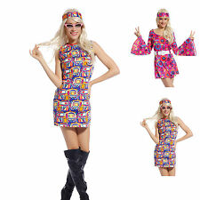Ladies Hippy Hippie Costume 60s 70s Retro Flower Go Go Dress Groovy Fancy Dress