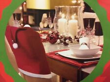 Red Santa Hat Dining Chair Covers Gold Bell Xmas Dinner Party Table Decoration