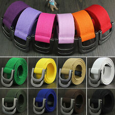 Casual 38mm Unisex Canvas Fabric Belt Strap D Ring Buckle Webbing Waist Band