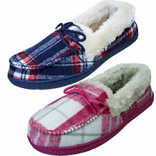 Ladies Tartan Fur Lining Fur Collar Low Top warm Lined Moccasin Shoe Slippers