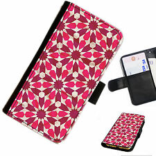 PAT06 PINK FLOWERS PRINTED LEATHER WALLET/FLIP CASE COVER FOR MOBILE PHONE