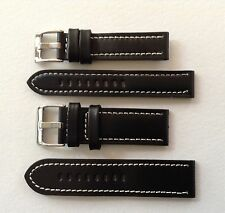 LEATHER WATCH STRAP BLACK/WHITE STITCHING 18MM-24MM - PANERAI/U BOAT/TW STEEL