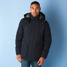 Mens Puffa Selsy Parka Jacket In Navy-Detachable Hood-Wool Lined Collar-Two Zip
