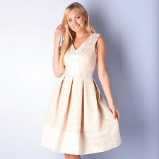 Womens Closet V Neck Jacquard Dress In Gold From Get The Label