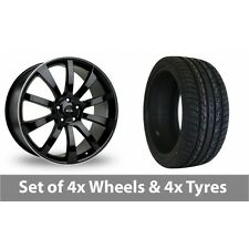 """4 x 20"""" Riva SUV Black Polished Alloy Wheel Rims and Tyres -  295/40/20"""
