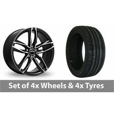 """4 x 18"""" GMP Italy Atom Black Polished Alloy Wheel Rims and Tyres -  225/55/18"""