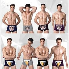 3D Mens Cartoon Cotton Shorts Underwear Wolf Owl Stretch Boxer Briefs Underpant