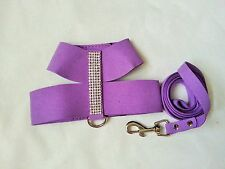 Small dog Bright Purple Harness + Lead Chihuahua Small breed dog Crystal Pink XS