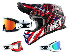 Oneal 3Series Casco Mercury azul rojo con TWO-X Carrera Gafas cross Motocross