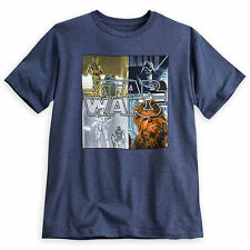Star Wars Mens logo Tee Shirt Darth Vader Chewbacca R2D2 C3PO Disney Store NEW