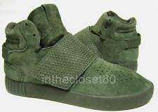 Adidas Tubular Invader Strap Cargo Army Green Olive Suede Leather Mens Trainers