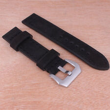 New Black Handmade Leather Watch Bands Wristwatch straps Stainless Steel Buckle